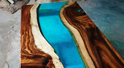 Natural Wood Blue Resin River Table Walnut Dining Table Home Decor Made To Order