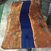 Beautiful Blue River Table Olive Wood Table Home And Office Furniture Kitchen Deco