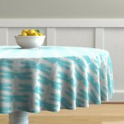 Round Tablecloth Blue Dragonflies Entomology Bugs Insects Baby Cotton Sateen