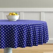 Round Tablecloth Blue Stars And Stripes 4th Of July Usa Flag Star Cotton Sateen