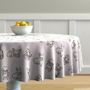 Round Tablecloth Friendly French Bulldogs Bulldog Pug Puppies Cotton Sateen