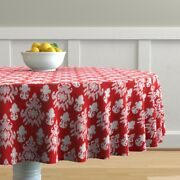 Round Tablecloth Large Scale Texture Red And White Christmas Cotton Sateen