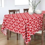 Tablecloth Large Scale Texture Red And White Christmas Holiday Cotton Sateen