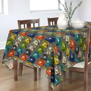 Tablecloth Rotary Dial Telephone Retro Old School Hand Sketched Cotton Sateen