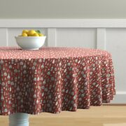 Round Tablecloth Hot Sauce Mexican Red Hand-drawn Spicey Pepper Cotton Sateen