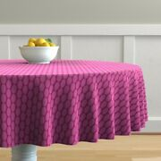 Round Tablecloth Hot Pink Retro Christmas Oval Large Scale Polka Cotton Sateen