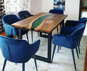 Green Clear Epoxy Wooden Walnut Dining Handmade Resin River Decor Made To Order