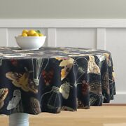 Round Tablecloth Moths And Lightbulbs Nocturnal Insects Cotton Sateen