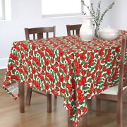 Tablecloth Painting Red Floral Garden Green Bright Colors All-over Cotton Sateen