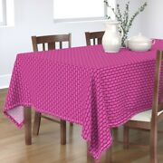 Tablecloth Hot Pink Retro Christmas Oval Large Scale Polka Dot Cotton Sateen