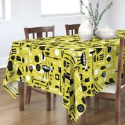Tablecloth Modern Cookout Summer Bbq Picnic Yellow Barbecue Cotton Sateen