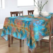 Tablecloth Jellyfish Abstract Blue And Orange Nautical Surreal Cotton Sateen