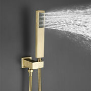 Brushed Gold Hand Shower Head With Silicone Nozzle Square Shower Holder Set