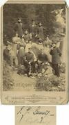 German Soldiers Officers With Company And Dogs Outdoors Antique Cabinet Photo