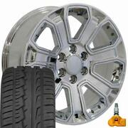 5661 Chrome 22x9 Wheels And 285/45 Tires Set Fits 2019 And Newer Gmc And Chevy