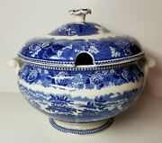 Wedgwood China Landscape Blue And White Transferware Soup Tureen With Lid - Nice
