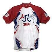 Hyvee 2014 Triathlon 5150 Cycling Jersey Mens S Small Red White Blue 3 Pkt W Zip