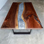 Gray Epoxy Wooden Walnut Dining/sofa/center Custom Natural Decors Made To Order