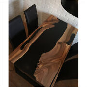 Matte Black Epoxy Wooden Dining Home And Office Interior Decorates Made To Order
