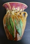 Remued Early Series Gumleaf Vase 196/7m Brilliant And Rare Approx 1930and039s