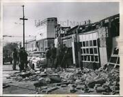 1957 Press Photo Firemen Amid Ruins Of Gas Station After Explosion In Chicago