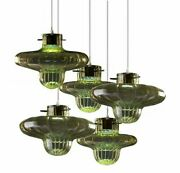 Chandelier Design 5 Lights In Genuine Murano Glass Made By Hand In Italy