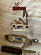 Vintage Lot Of 5 Key Chain Pocket Knives Multi Blade And Scissors Advertising