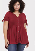 Torrid 4 4x Red Supersoft Tie-sleeve Button Front Babydoll Tunic Tee Plus 26 Nwt
