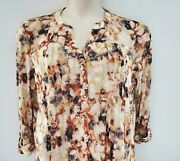 Nwt Cocomo Beige And Multicolor Tunic Blouse Pin-tuck Pleated W/mesh Yoke