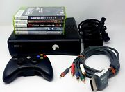 Microsoft Xbox 360 S 4gb Console Controller 5 Game Bundle Call Of Duty Ghost