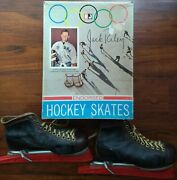 1960and039s Jack Riley West Point Usa Olympic Endorsed Ice Hockey Skates And Box Size 8