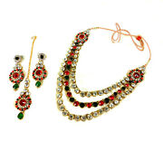 4pcs Red-green Stone Golden Necklace Set Party Dance Clearance Sale Rakhi Gift