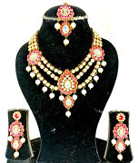 4pcs Baby Pink Stone White Pearl Golden Necklace Set Clearance Sale Rakhi Gift