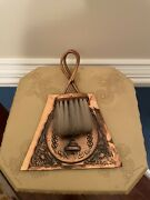 Vintage Copper Butler Table Cleaning Crumb Dustpan And Brush Sweeper Stand Set