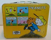 Vintage Peanuts Yellow Metal Lunch Box By Thermos Snoopy Charley Lucy L@@k