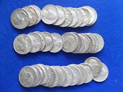 Full Roll Of 40 Silver Washington Quarters 25 Cent Coin Us 90 1964 Pd Circulate