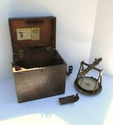 Rare 1880s Wandle Gurley Vernier Transit Compass In Orig Case W Prism Survey Tool