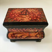 Russian Kholuy Lacquer Box Spring 362 Hand Painted Papier - Mache