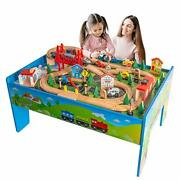 Train Table Toyswooden Train Track Railway City Sets Table For Kids Toddlers