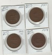 1940,1937,1943,1958 Set Of 4 Coins South Africa 1 Penny Collectible Coins