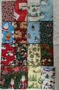 Lot Of 16 Full Yards 100 Quiliting Cotton Fabric No Duplicates Christmas
