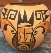 Good Antique Vintage Hopi Native American Pot With Signature 7and039and039 Tall