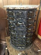 Rare Antique Octagonal Rotating Parts Cabinet Drawers Hardware Store Nuts Bolts