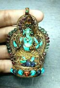Antique Turquoise Ganesh Lapis Mouse Red Coral Emerald Gold S/ Silver Pendant