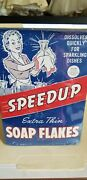 Vtg 50's Speedup Soap Flakes Dish Detergent W/housewife Doing Dishes Full
