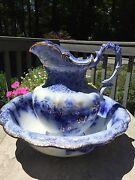 Very Rare 1900 Flow Blue Wash Bowl And Pitcher Vanity Set Belmont Pattern Eng
