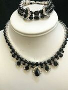 Vintage Weiss Opaque Black And Clear Rhinestone Necklace And Bracelet Set Signed
