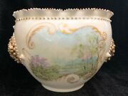 Ktk Lotus Ware Columbia Bowl W/hand Painted Scene And Applied Medallions Book