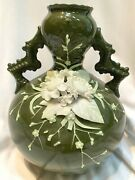 Very Rare Ktk Lotus Ware Thebian Vase W/applied White Flowers Olive Body Book