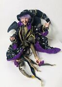 Mark Roberts Collectible Halloween Witch Bat Wings Black Purple Gold Stars Pouch